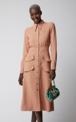 Rochas Double-Pocket Cady Midi Shirt Dress