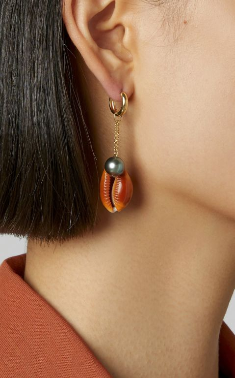 Haute Victoire 18K Gold, Shell And Pearl Earring